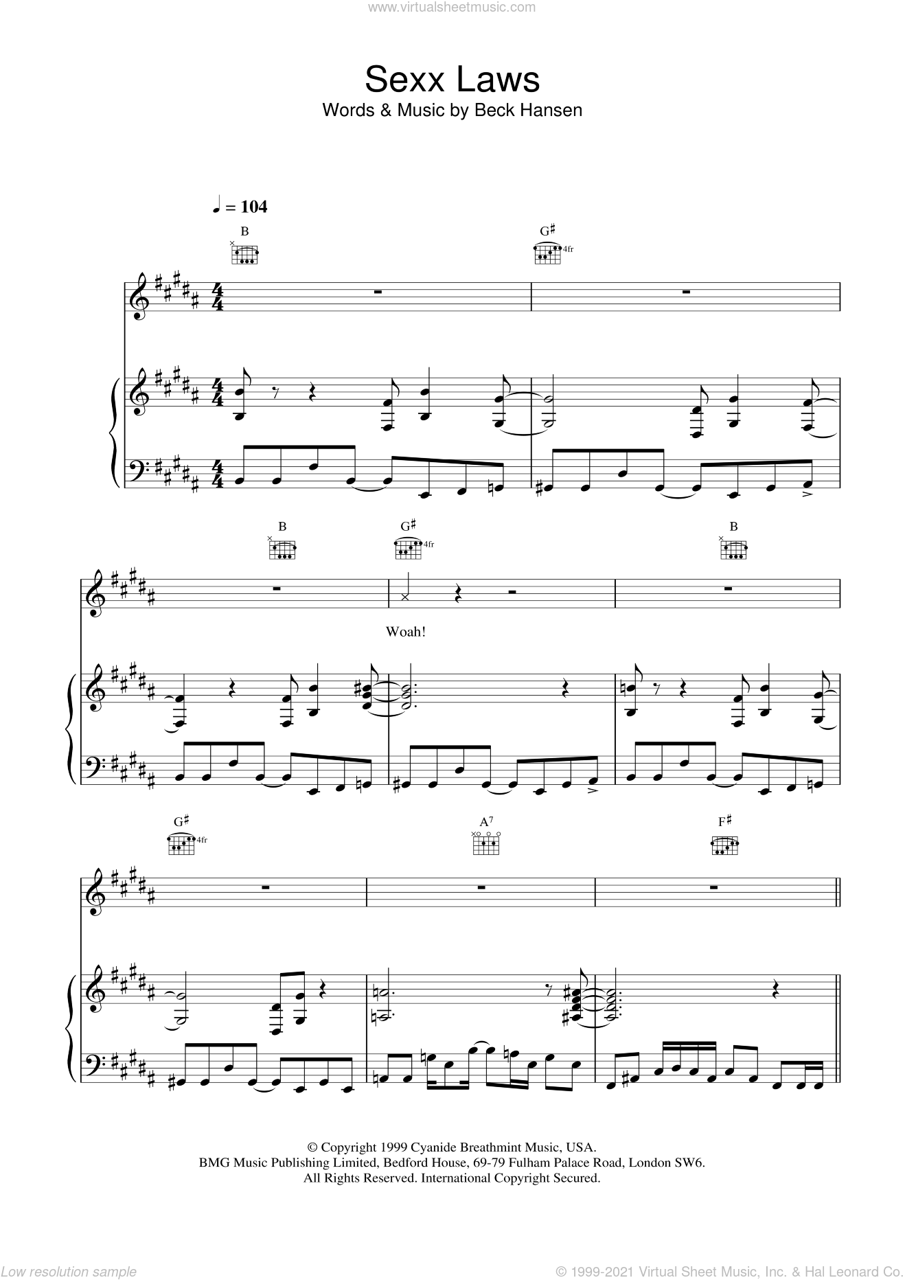 Sexx laws sheet music for voice, piano or guitar by Beck Hansen, intermediate skill level