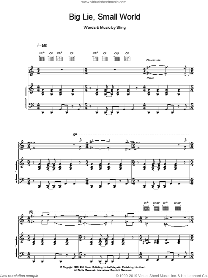 Big Lie Small World sheet music for voice, piano or guitar by Sting, intermediate skill level