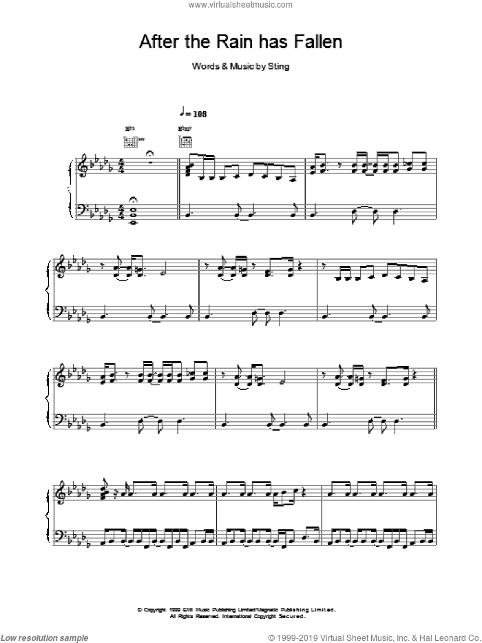 After The Rain Has Fallen sheet music for voice, piano or guitar by Sting, intermediate. Score Image Preview.