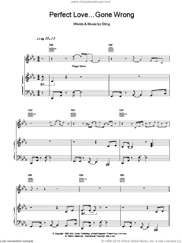 Perfect Love Gone Wrong sheet music for voice, piano or guitar by Sting, intermediate. Score Image Preview.