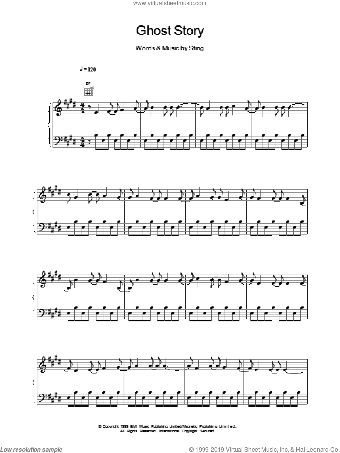 Ghost Story sheet music for voice, piano or guitar by Sting. Score Image Preview.