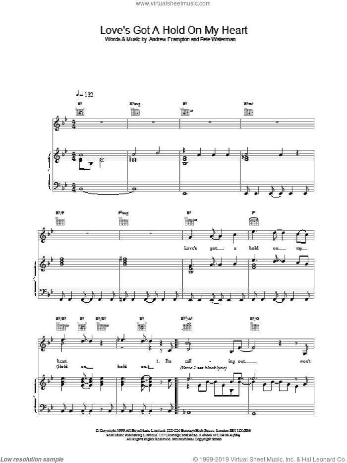 Love's Got A Hold On My Heart sheet music for voice, piano or guitar by Steps. Score Image Preview.