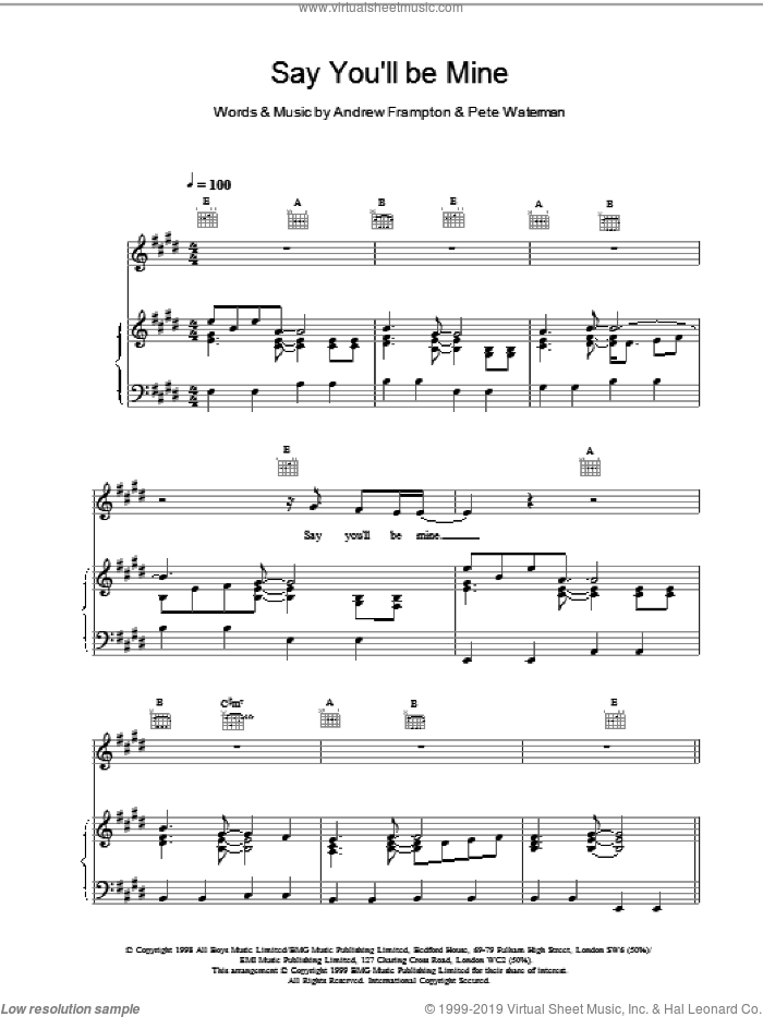 Say Youll Be Mine sheet music for voice, piano or guitar by Steps. Score Image Preview.