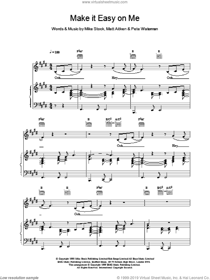 Make It Easy On Me sheet music for voice, piano or guitar by Steps