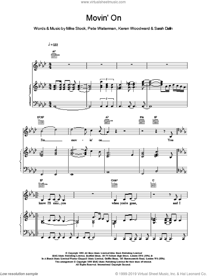 Movin On sheet music for voice, piano or guitar by Steps