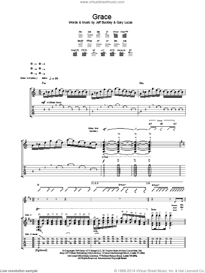Grace sheet music for guitar (tablature) by Gary Lucas and Jeff Buckley. Score Image Preview.
