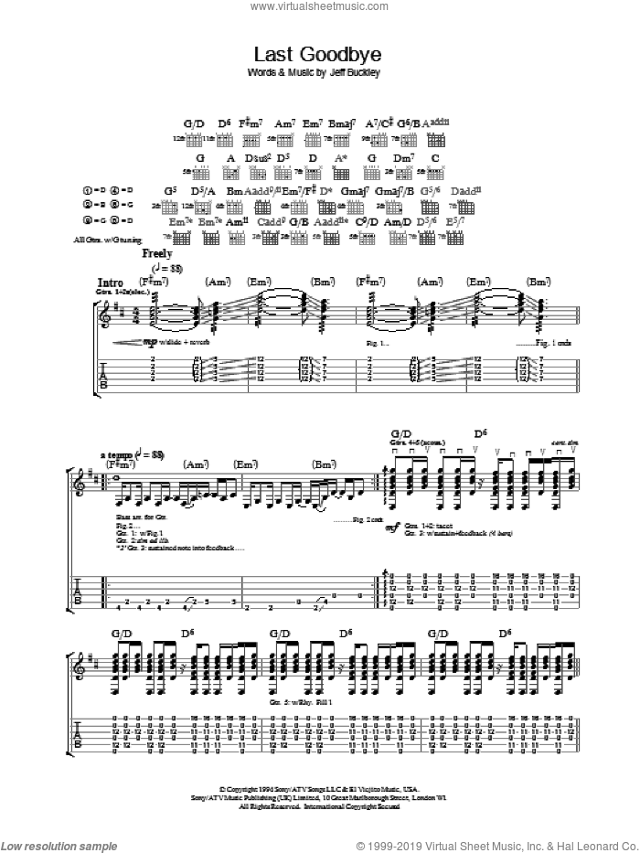 Last Goodbye sheet music for guitar (tablature) by Jeff Buckley. Score Image Preview.