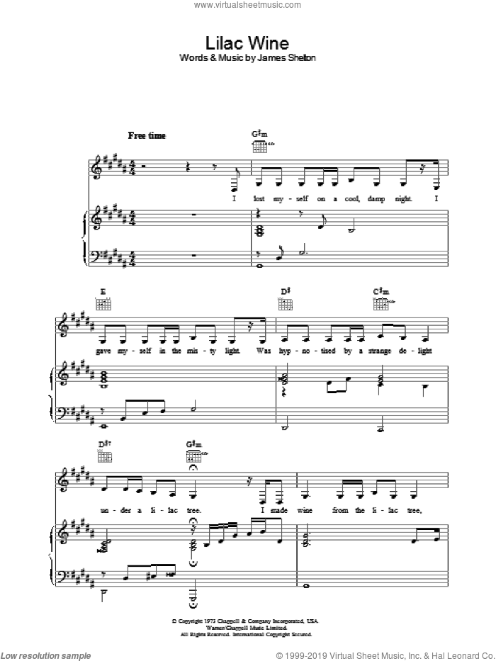 Lilac Wine sheet music for voice, piano or guitar by Katie Melua, intermediate skill level