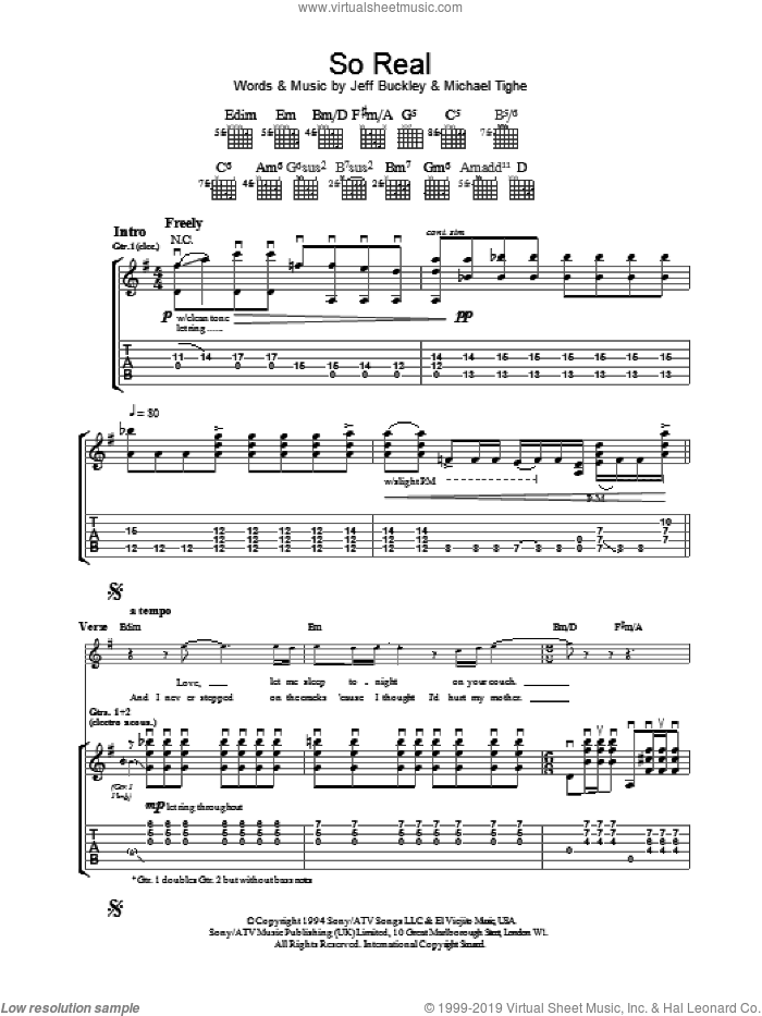So Real sheet music for guitar (tablature) by Jeff Buckley, intermediate guitar (tablature). Score Image Preview.