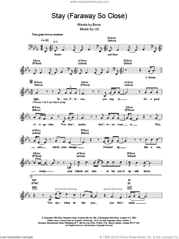 Stay (Faraway So Close) sheet music for voice and other instruments (fake book) by U2, intermediate. Score Image Preview.