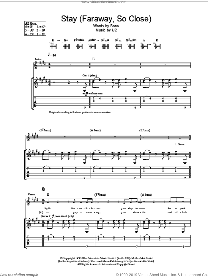 Stay (Faraway, So Close) sheet music for guitar (tablature) by U2, intermediate guitar (tablature). Score Image Preview.