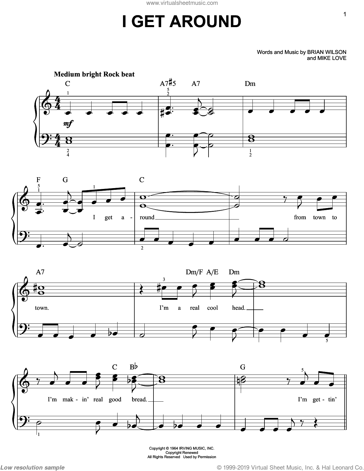 I Get Around sheet music for piano solo by The Beach Boys, Brian Wilson and Mike Love, easy skill level