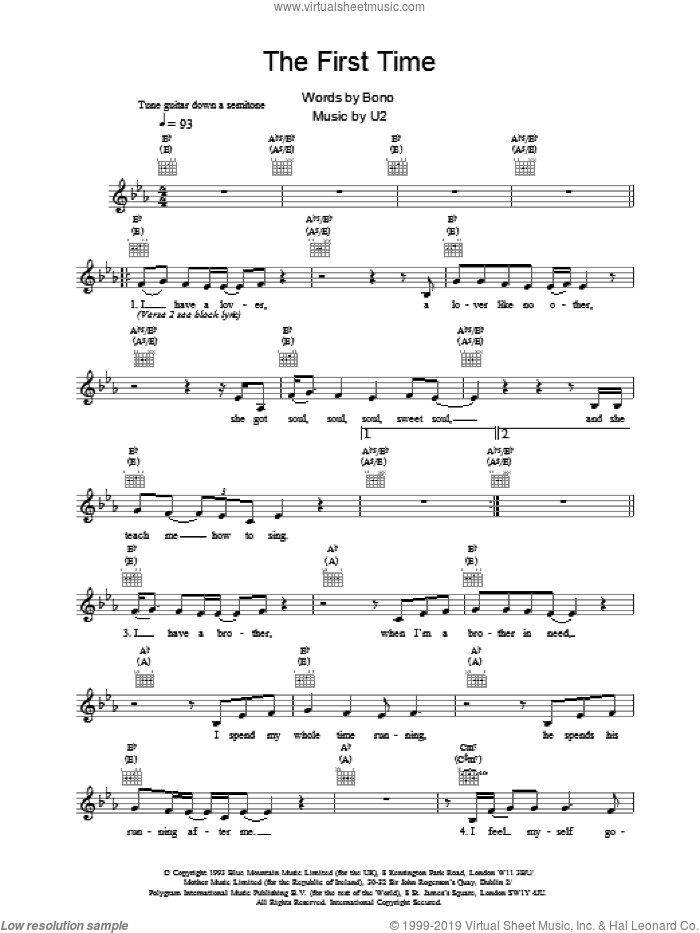 The First Time sheet music for voice and other instruments (fake book) by U2, intermediate skill level