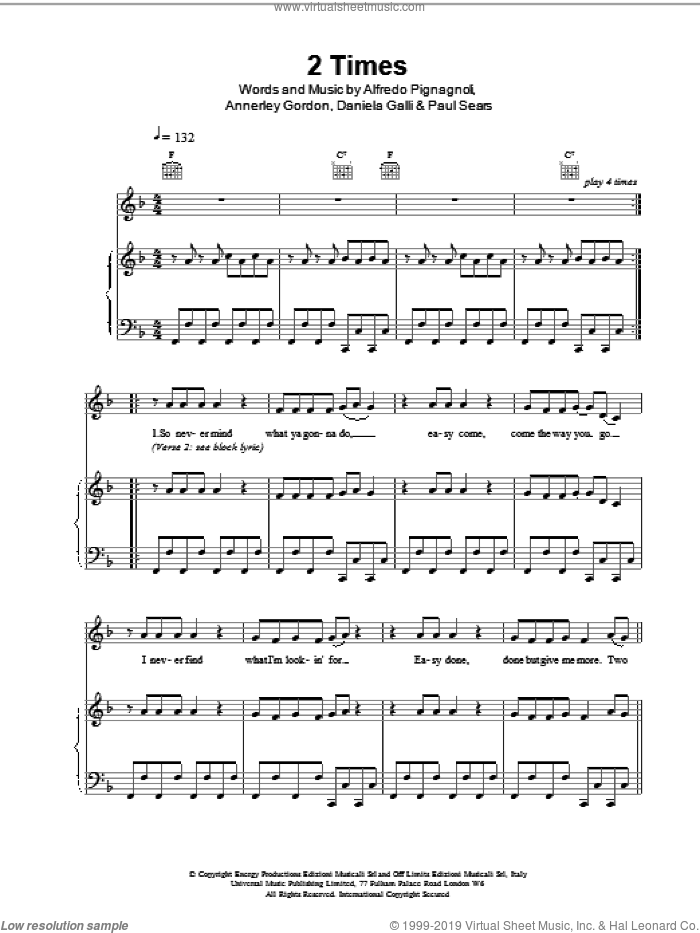 2 Times sheet music for voice, piano or guitar by Ann Lee