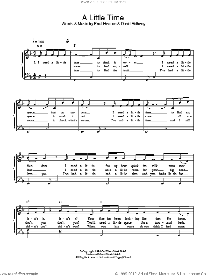 A Little Time sheet music for piano solo by The Beautiful South. Score Image Preview.