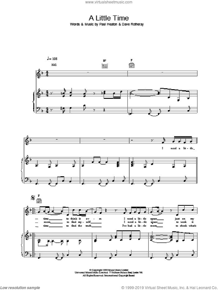 A Little Time sheet music for voice, piano or guitar by The Beautiful South, intermediate. Score Image Preview.