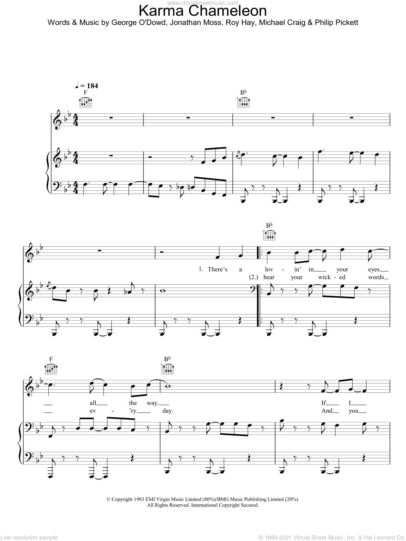 Karma Chameleon sheet music for voice, piano or guitar by Culture Club. Score Image Preview.