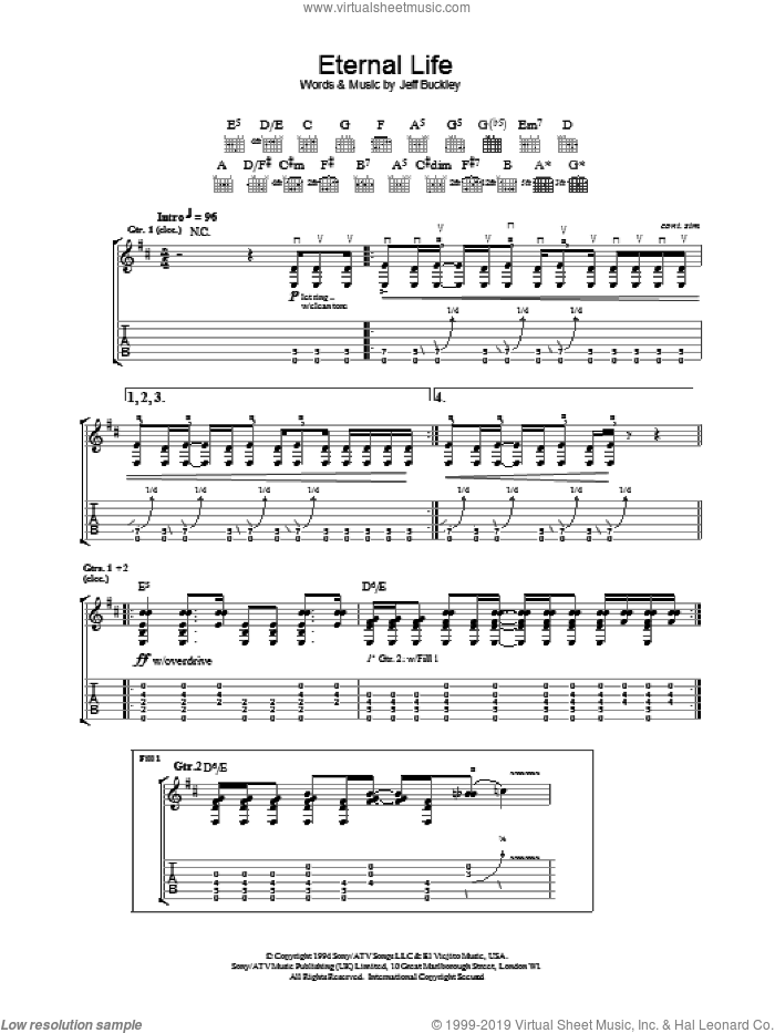 Eternal Life sheet music for guitar (tablature) by Jeff Buckley, intermediate guitar (tablature). Score Image Preview.