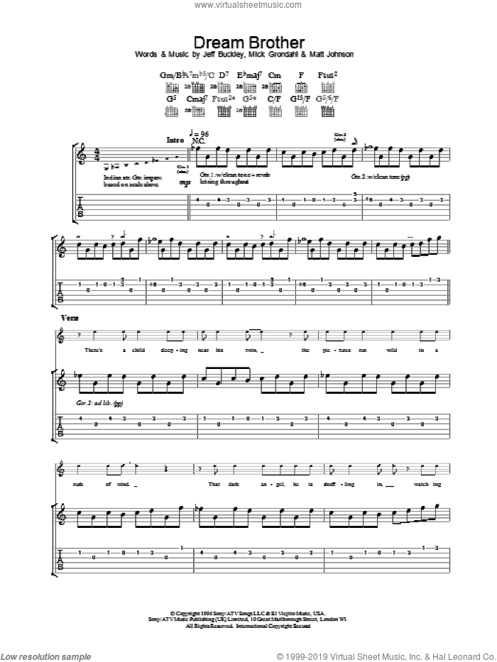 Dream Brother sheet music for guitar (tablature) by Mick Grondahl, Jeff Buckley and Matt Johnson. Score Image Preview.