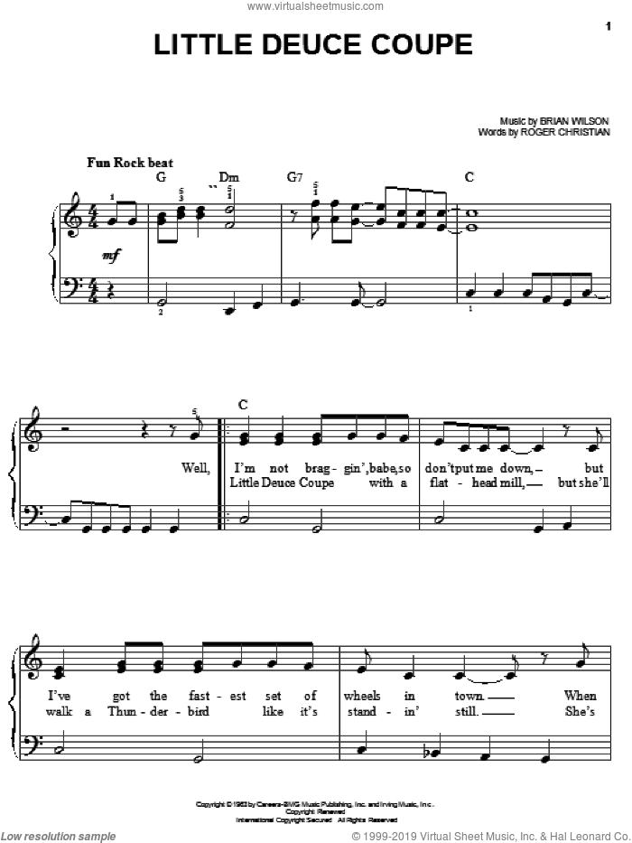 Little Deuce Coupe sheet music for piano solo by The Beach Boys, Brian Wilson and Roger Christian, easy skill level
