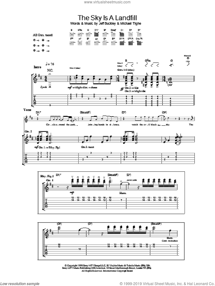 The Sky Is A Landfill sheet music for guitar (tablature) by Michael Tighe and Jeff Buckley. Score Image Preview.