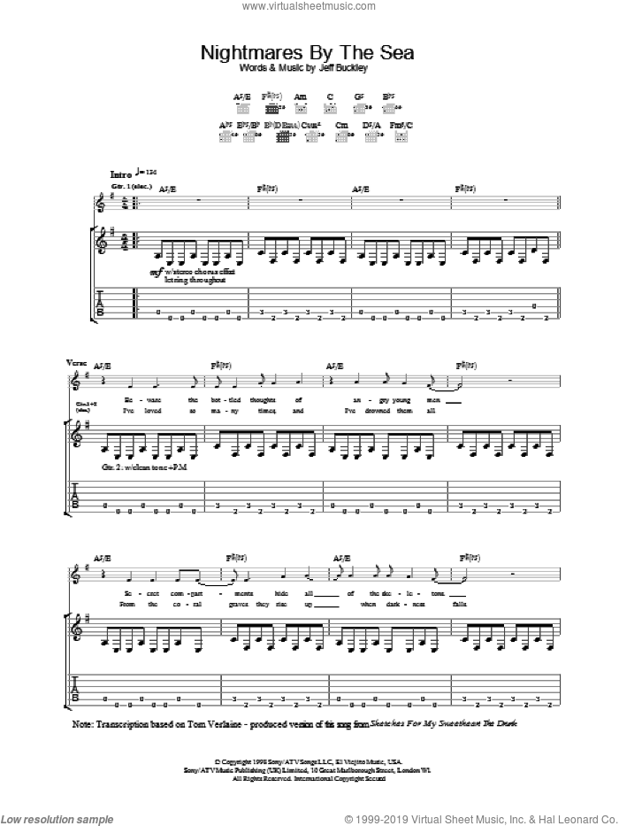 Nightmares By The Sea sheet music for guitar (tablature) by Jeff Buckley, intermediate. Score Image Preview.