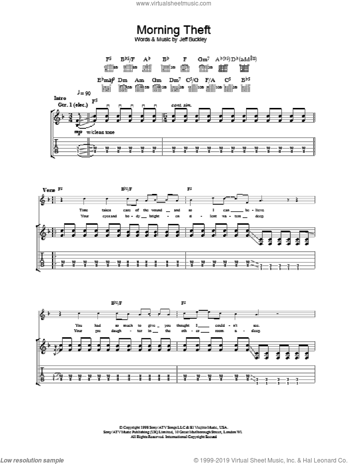 Morning Theft sheet music for guitar (tablature) by Jeff Buckley, intermediate. Score Image Preview.