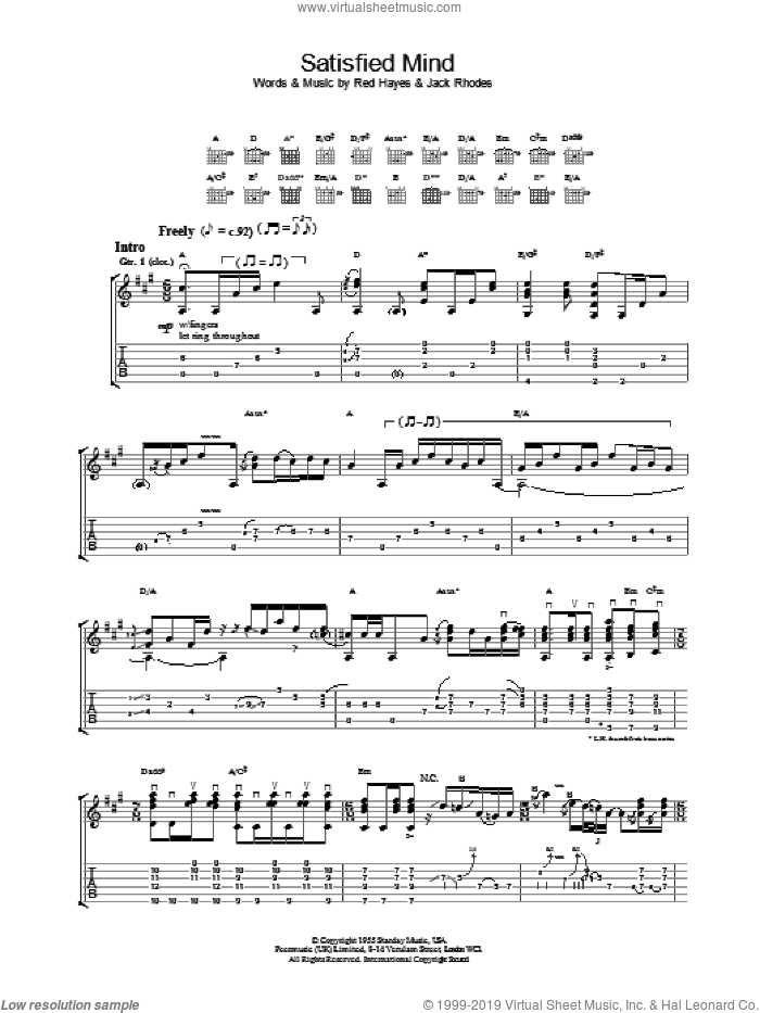 Satisfied Mind sheet music for guitar (tablature) by Red Hayes