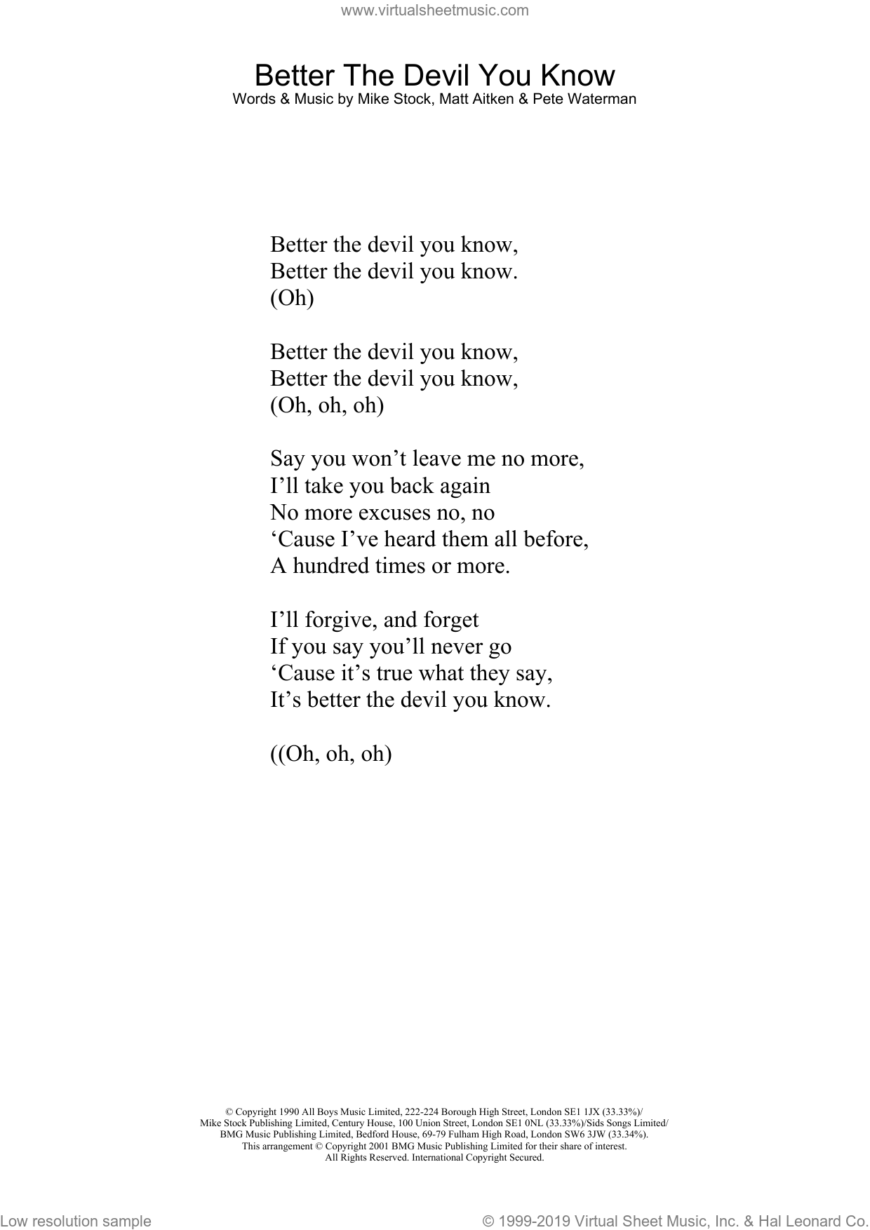 Better The Devil You Know sheet music for voice and other instruments (lyrics only) by Kylie Minogue