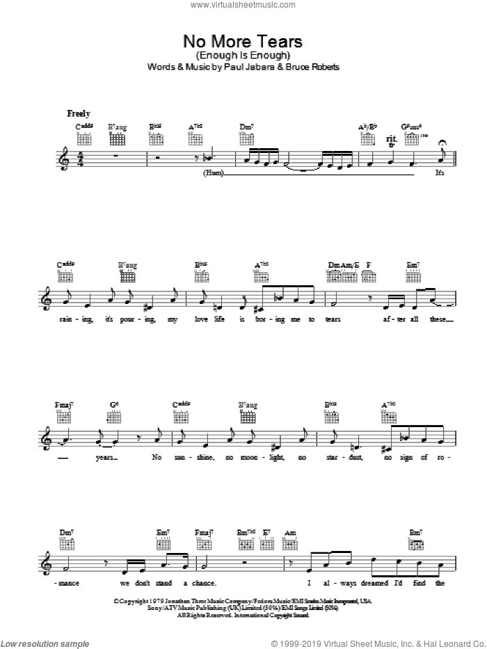 No More Tears sheet music for voice and other instruments (fake book) by Barbra Streisand and Donna Summer, intermediate voice. Score Image Preview.