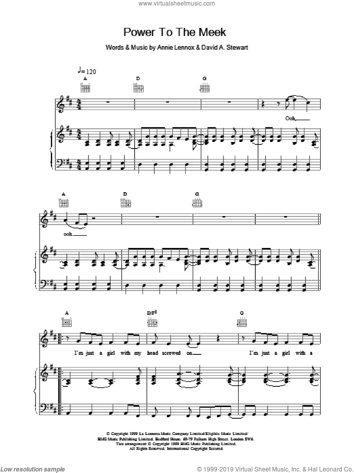 Power To The Meek sheet music for voice, piano or guitar by Eurythmics, intermediate. Score Image Preview.