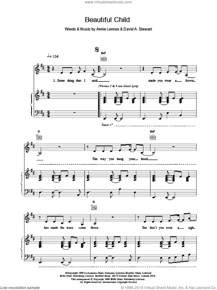 Beautiful Child sheet music for voice, piano or guitar by Eurythmics, intermediate. Score Image Preview.