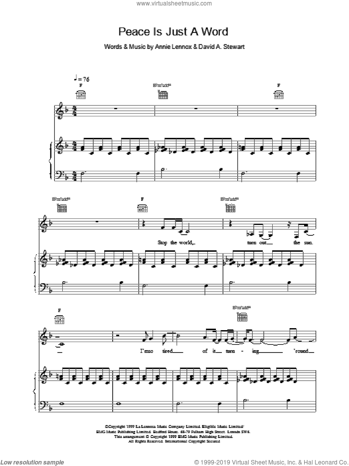 Peace Is Just A Word sheet music for voice, piano or guitar by Eurythmics. Score Image Preview.