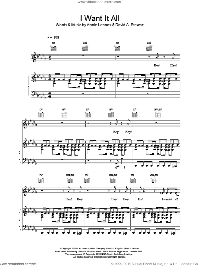 I Want It All sheet music for voice, piano or guitar by Eurythmics, intermediate. Score Image Preview.