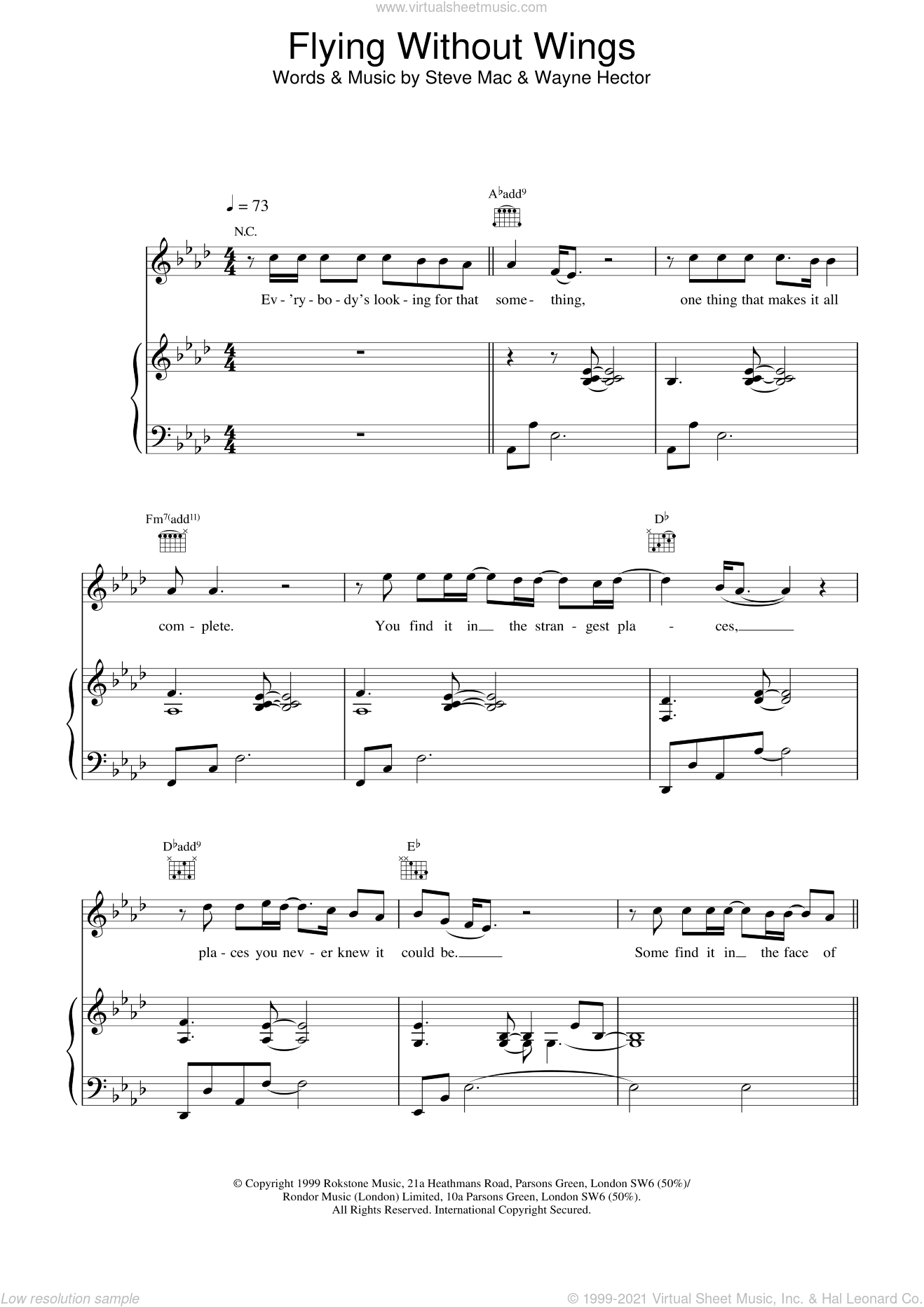 Flying Without Wings sheet music for voice, piano or guitar by Westlife, intermediate. Score Image Preview.