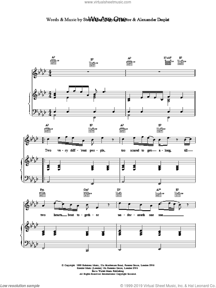 We Are One sheet music for voice, piano or guitar by Westlife. Score Image Preview.