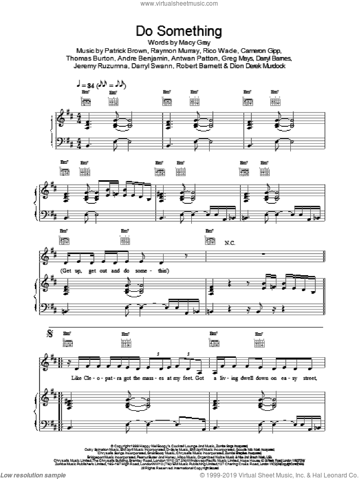 Do Something sheet music for voice, piano or guitar by Macy Gray. Score Image Preview.