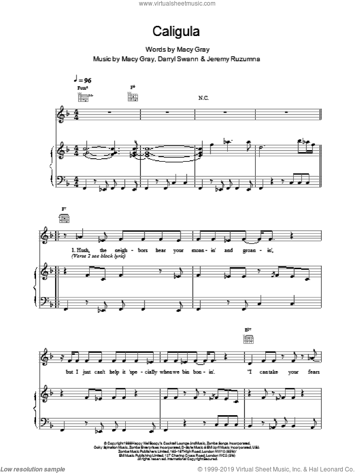 Caligula sheet music for voice, piano or guitar by Macy Gray. Score Image Preview.