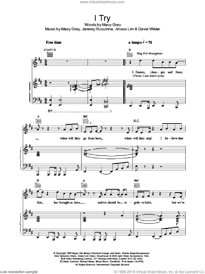I Try sheet music for voice, piano or guitar by Macy Gray. Score Image Preview.