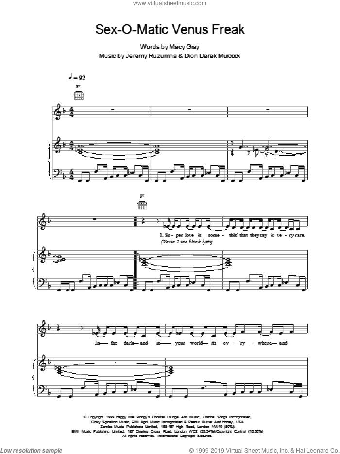 Sexomatic Venus Freak sheet music for voice, piano or guitar by Macy Gray, intermediate skill level