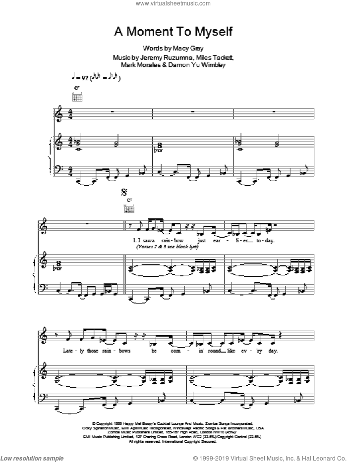 A Moment To Myself sheet music for voice, piano or guitar by Macy Gray
