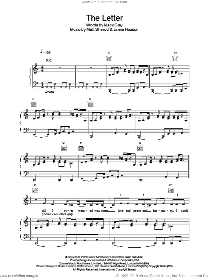 The Letter sheet music for voice, piano or guitar by Macy Gray. Score Image Preview.