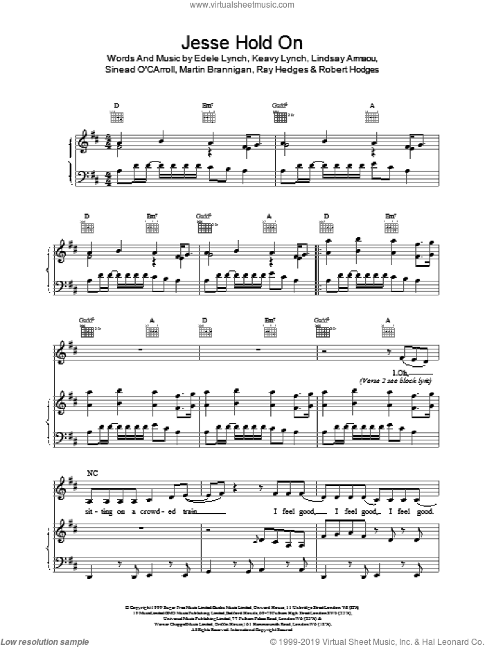 Jesse Hold On sheet music for voice, piano or guitar by BWitched