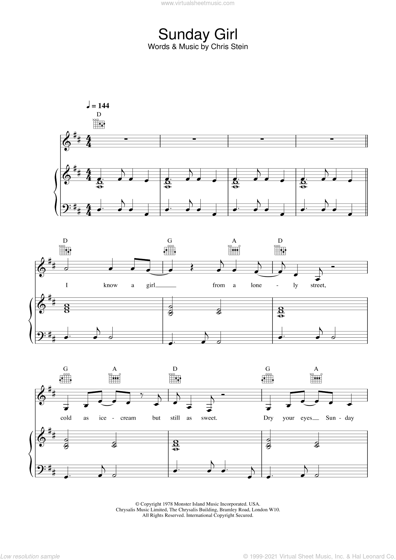 Sunday Girl sheet music for voice, piano or guitar by Blondie, intermediate