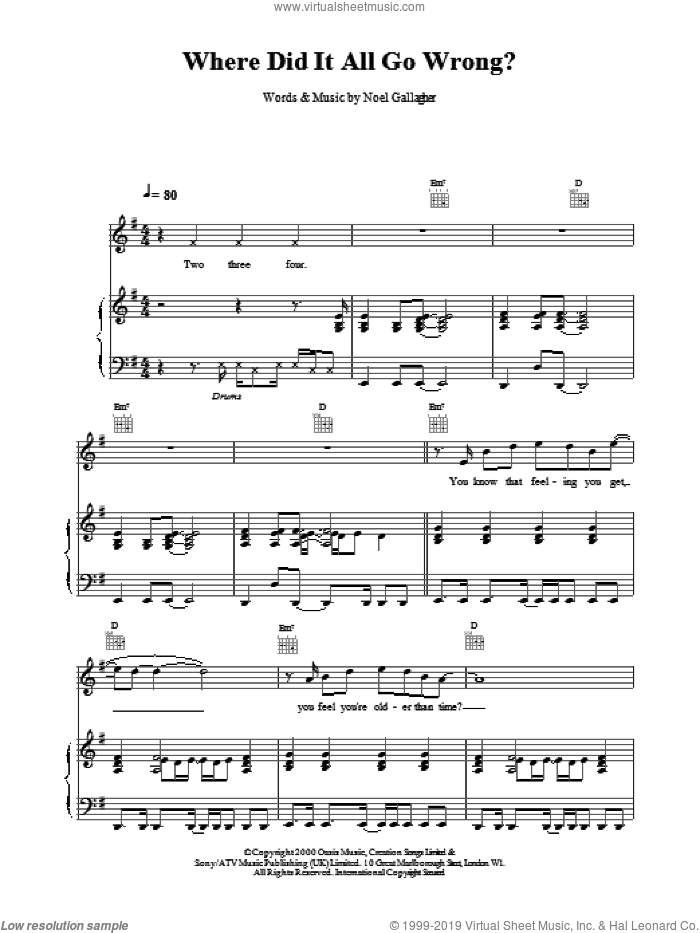 Where Did It All Go Wrong? sheet music for voice, piano or guitar by Oasis, intermediate. Score Image Preview.