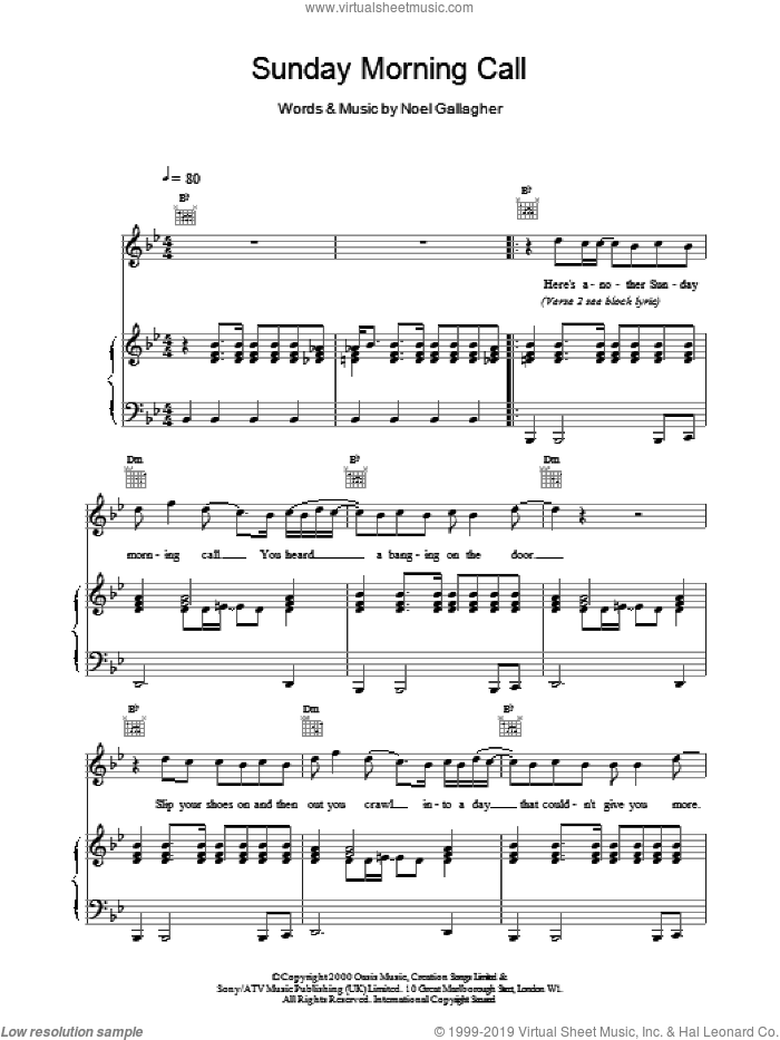 Sunday Morning Call sheet music for voice, piano or guitar by Oasis. Score Image Preview.