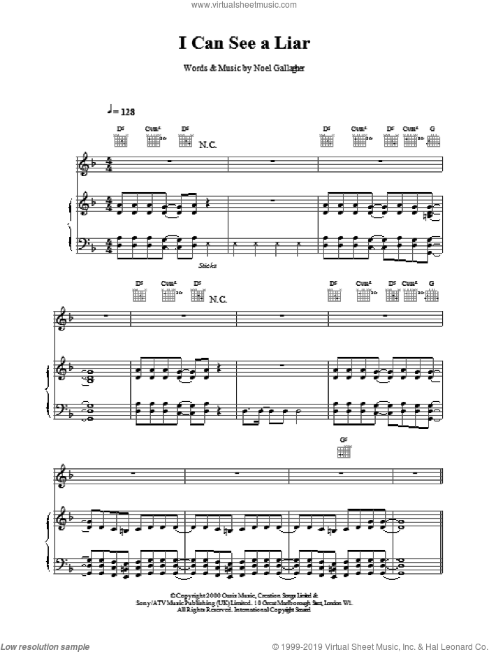 I Can See A Liar sheet music for voice, piano or guitar by Oasis, intermediate voice, piano or guitar. Score Image Preview.