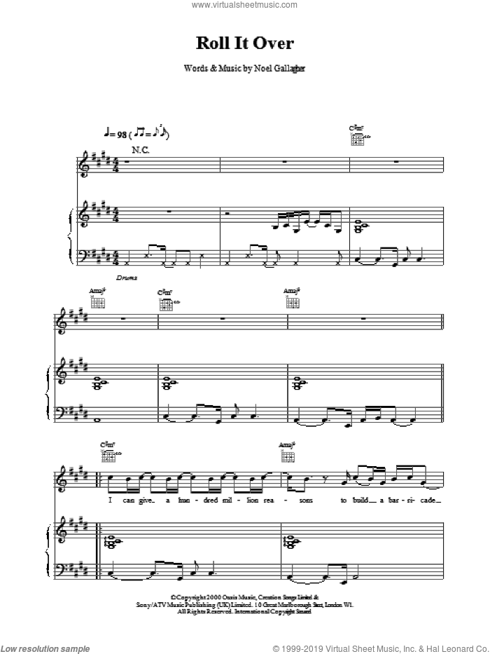 Roll It Over sheet music for voice, piano or guitar by Oasis