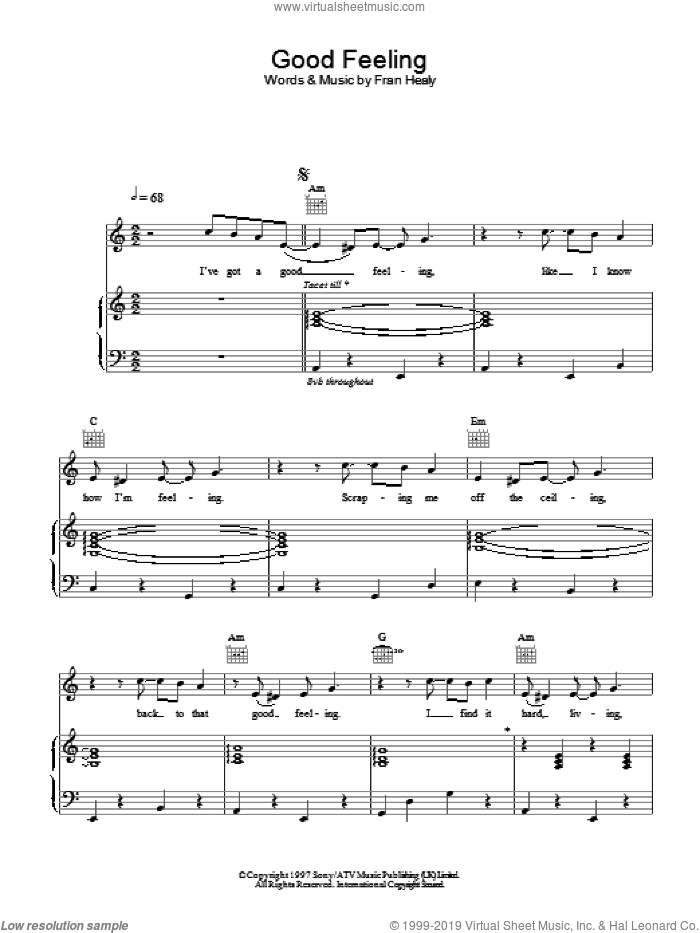Good Feeling sheet music for voice, piano or guitar by Merle Travis, intermediate. Score Image Preview.