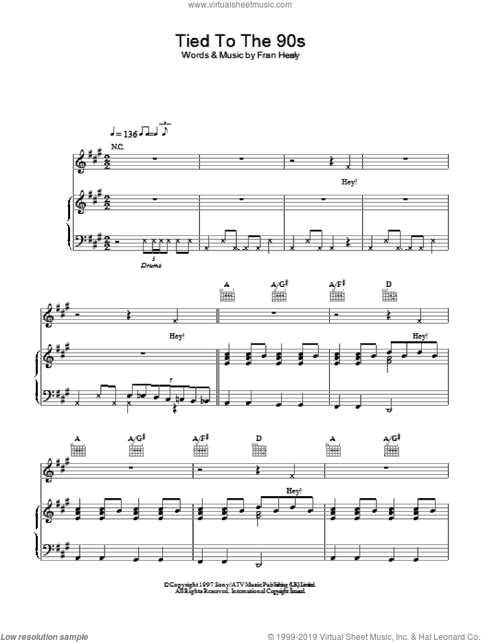Tied To The 90s sheet music for voice, piano or guitar by Merle Travis, intermediate. Score Image Preview.